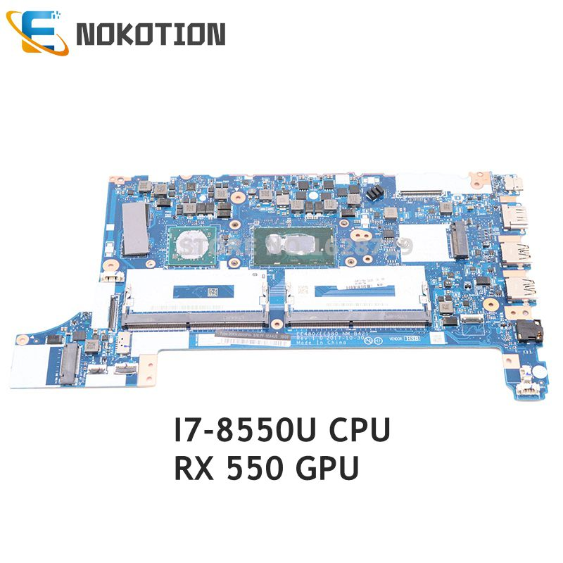 NOKOTION For Lenovo ThinkPad E480 E580 laptop motherboard SR3LC i7-8550U CPU <font><b>RX</b></font> <font><b>550</b></font> GPU DDR4 01LW201 EE480 EE580 NM-B421 image