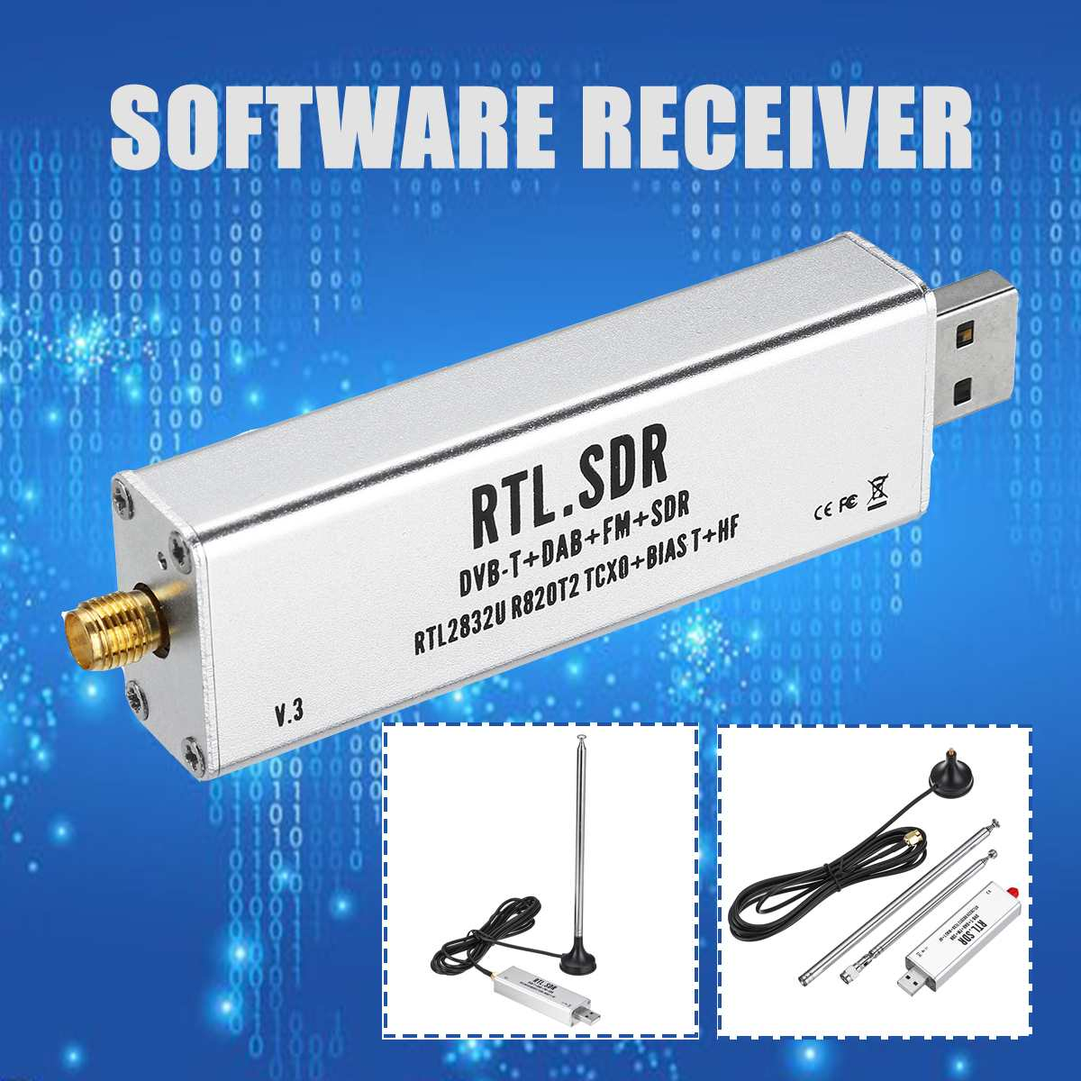 С антенной 0,1 МГц-1,7 ГГц TCXO компенсирует высокую стабильность, Полнодиапазонный программный приемник авиационного диапазона ADSB RTL2832U + R820T2