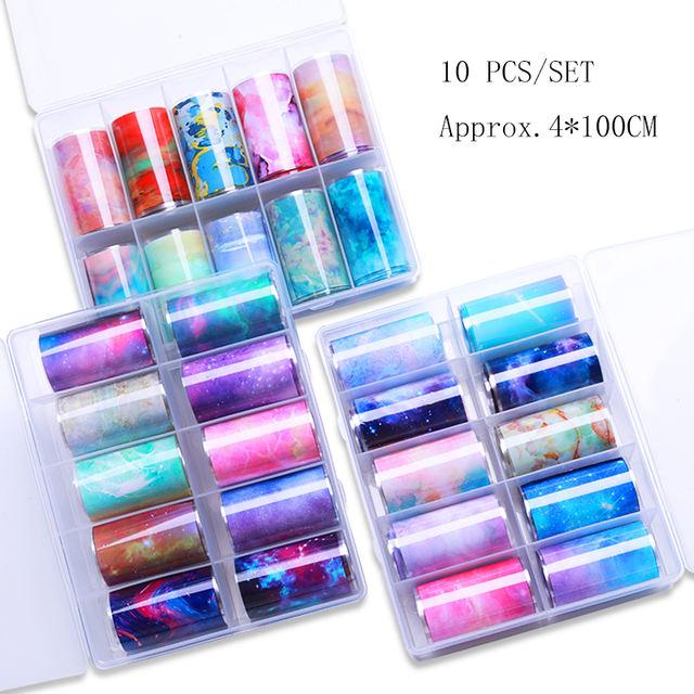 10 Rolls/Box Gradient Nail Foil Stickers
