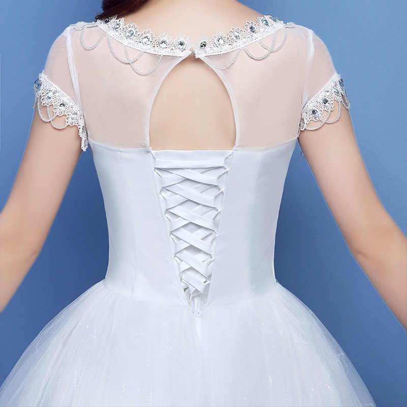2019 תחרה שמלות חתונה שמלת Princesse גלימה Mariage בתוספת גודל ארוך רכבת טול Mariage כלה טורקיה קצר 2018 שמלות