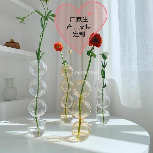 INS Crystal ball bubble Glass Vase Flower arrangement hydroponics ball glass art flower ware Home Decor 3