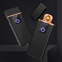 טביעת אצבע אינדוקציה חשמלי מצית USB טעינת Windproof יצירתי אישיות זכר USB אלקטרוני מצית