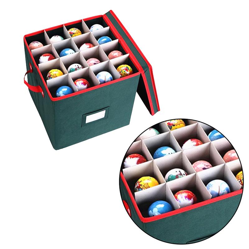 1PC Christmas Ball Storage Box Party Gift Container Festival Ornaments Holding Case For Home Office Green