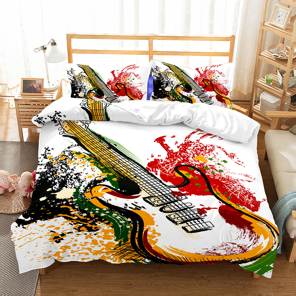 Water-color <font><b>Guitar</b></font> Bedding Set Bedroom Decor Doona Quilt Cover White Background Hypoallergenic 1PC Duvet Cover with Pillowcase image