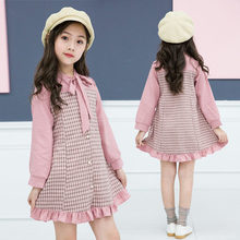 Girls Blouse Designs Ruffle Stitching Bottoming Dresses Long Sleeve Plaid Kids Dresses for Girls Casual Autumn Tops With Bow ruffle sleeve blouse