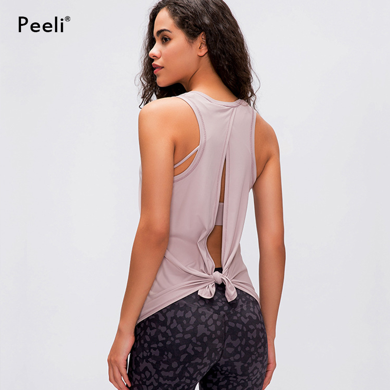 Peeli Sexy Back Open Sport Vest Women Loose Fit Solid Yoga Top Fitness Shirts Breathable O-neck Gym Athletic Tank Tops XS-XL