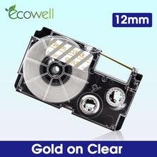 Этикетки Ecowell 12 мм XR 12XG для Casio XR-12XG XR12XG этикетка Золотая на прозрачном для Casio KL-60 KL-120 KL-100 KL-300