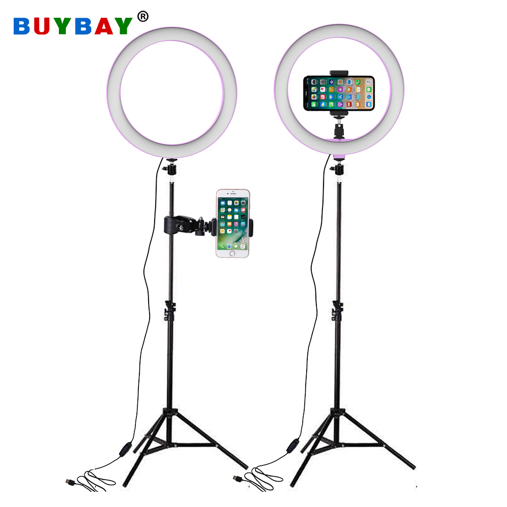 26cm LED Ring Lichter mit 160cm Stativ Licht für Selfie Ringförmige Lampe Studio Fotografie Foto Lampen Lampada Telefon USB Ringlight