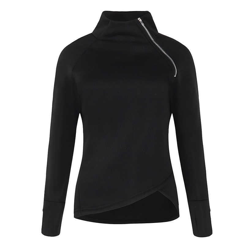 ZANZEA 2020 Nuove Donne casual Solido Manica Lunga Pullover Felpe Dolcevita Slim Fit Chiusure lampo di Autunno Più Il Formato Felpe