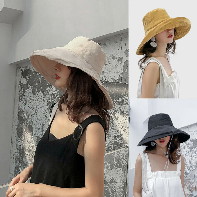 Brand New Double-Sided Reversible Bucket Hat Solid UV Protection Fisherman Hats Summer Spring Caps Casual Sunhat For Women