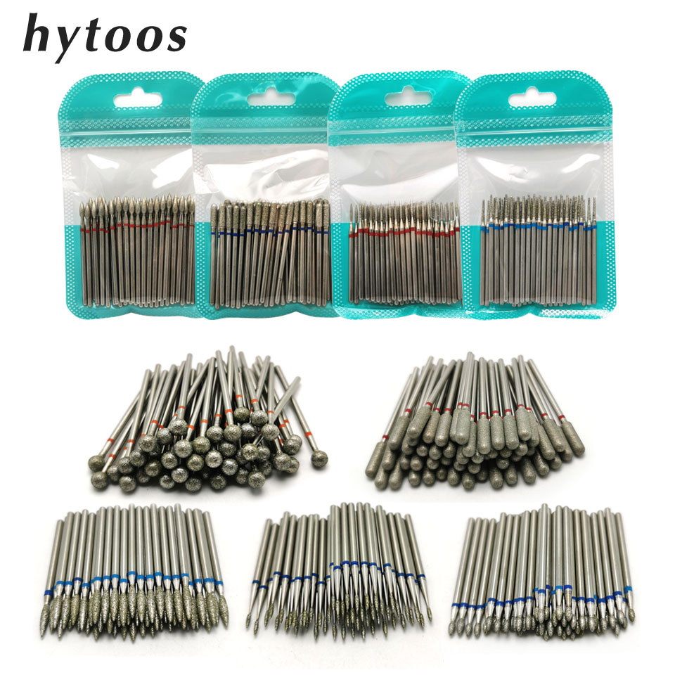 HYTOOS 50Pcs Diamond Nail Drill Bit 3/32
