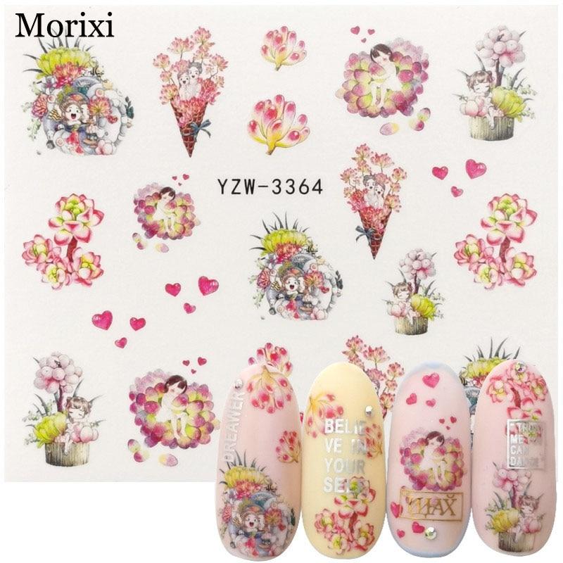 Купить morixi водные наклейки 3d маникюр украшение цветок растение