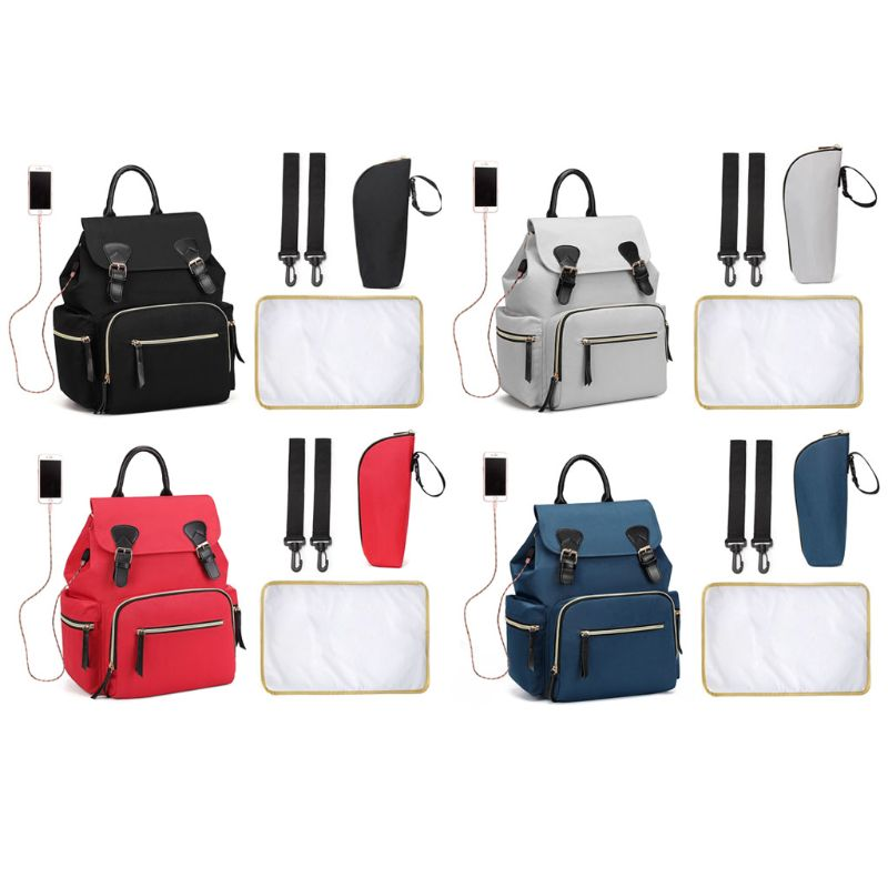 Baby Diaper Bag Mummy Maternity Nappy Travel Backpack Large Capacity with Thermal Pocket Changing Pad Stroller Straps