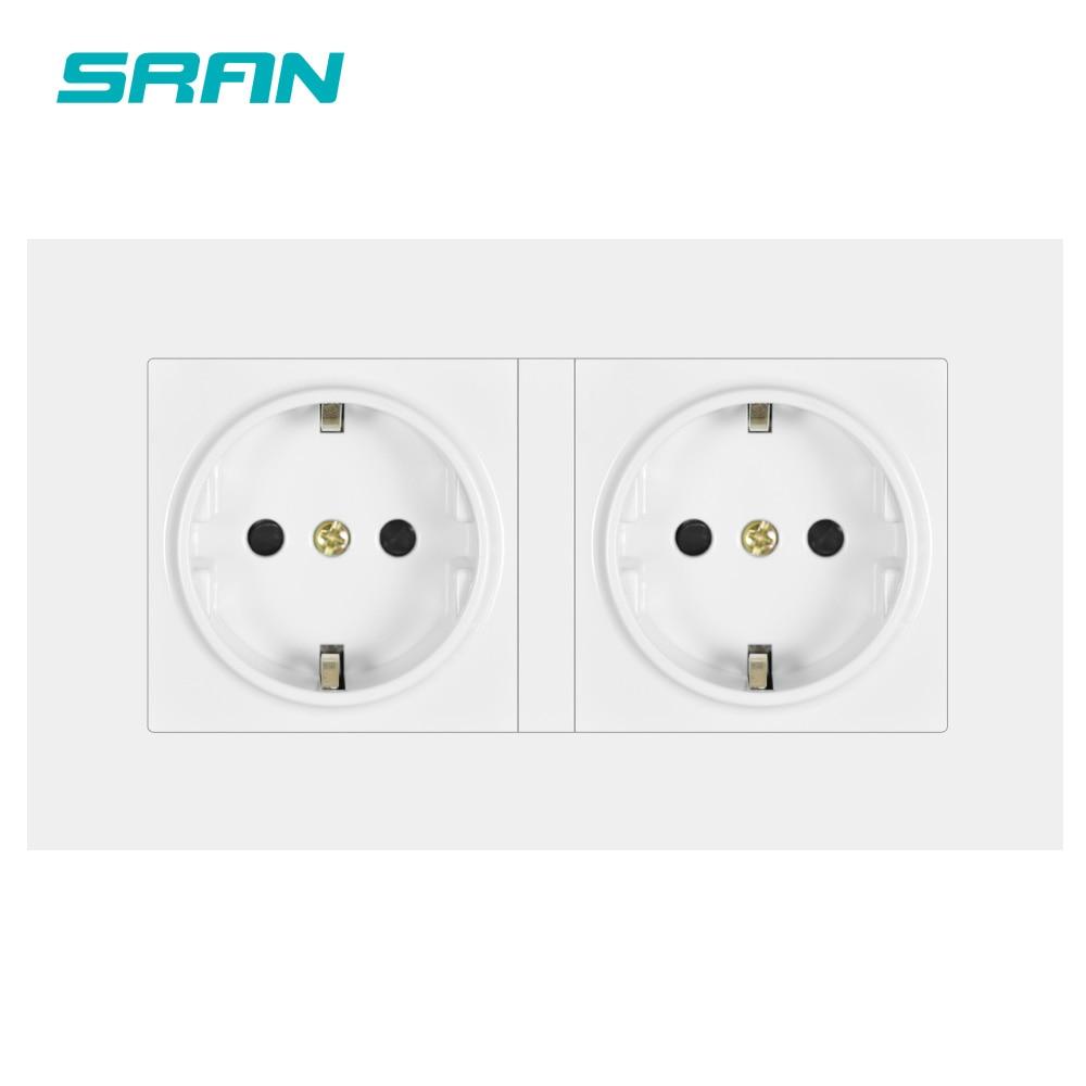 SRAN EU standard wall power socket white PC panel double frame socket 146mm*86mm home decoration(China)