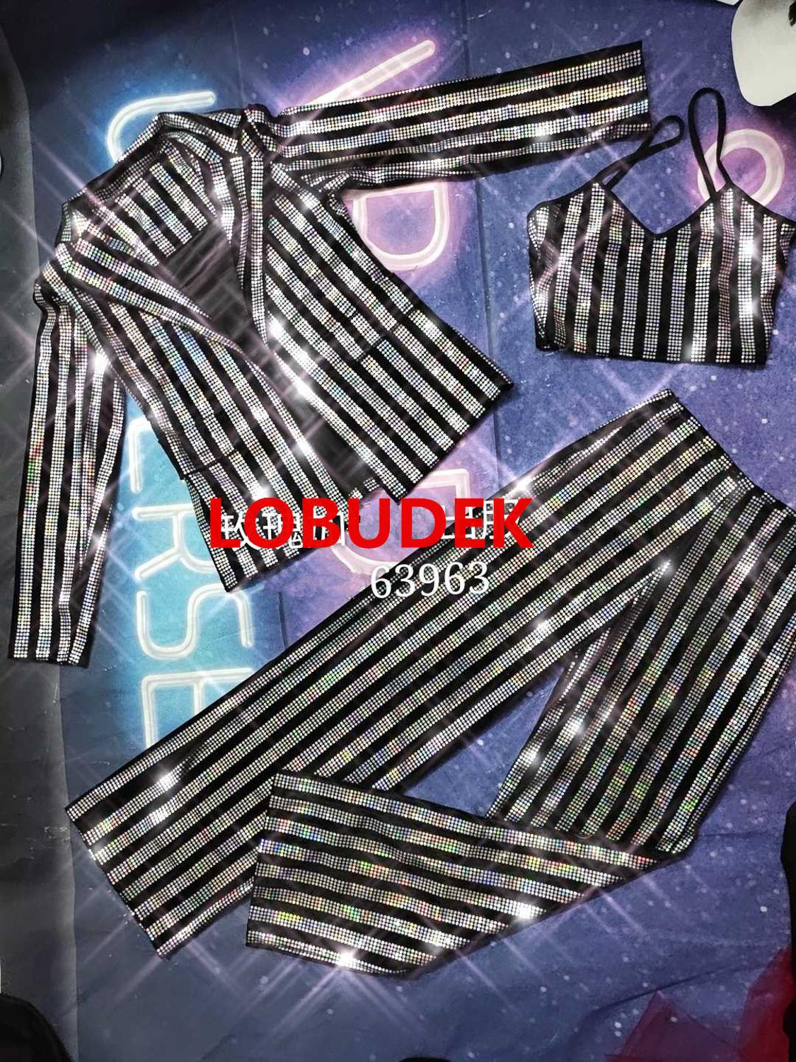 Female Bar Singer Performance Suit Set Silver Black Striped Rhinestones Bra Pants Jacket 3-Piece Outfit Nightclub Stage Costume