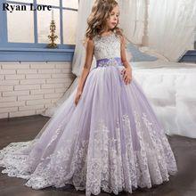 우아한 꽃의 소녀 드레스 2020 보라색 Appliques 결혼식을위한 민소매 키즈 공주 첫 성찬식 드레스 Pageant 가운