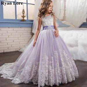 Image 1 - אלגנטי פרח ילדה שמלות 2020 סגול אפליקציות שרוולים ילדים נסיכת לחתונות ראשית הקודש שמלות תחרות שמלות