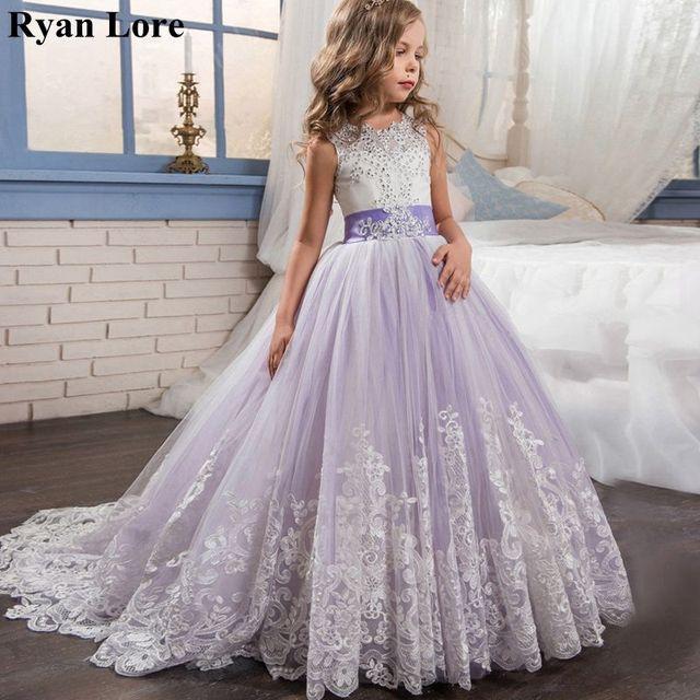 אלגנטי פרח ילדה שמלות 2020 סגול אפליקציות שרוולים ילדים נסיכת לחתונות ראשית הקודש שמלות תחרות שמלות