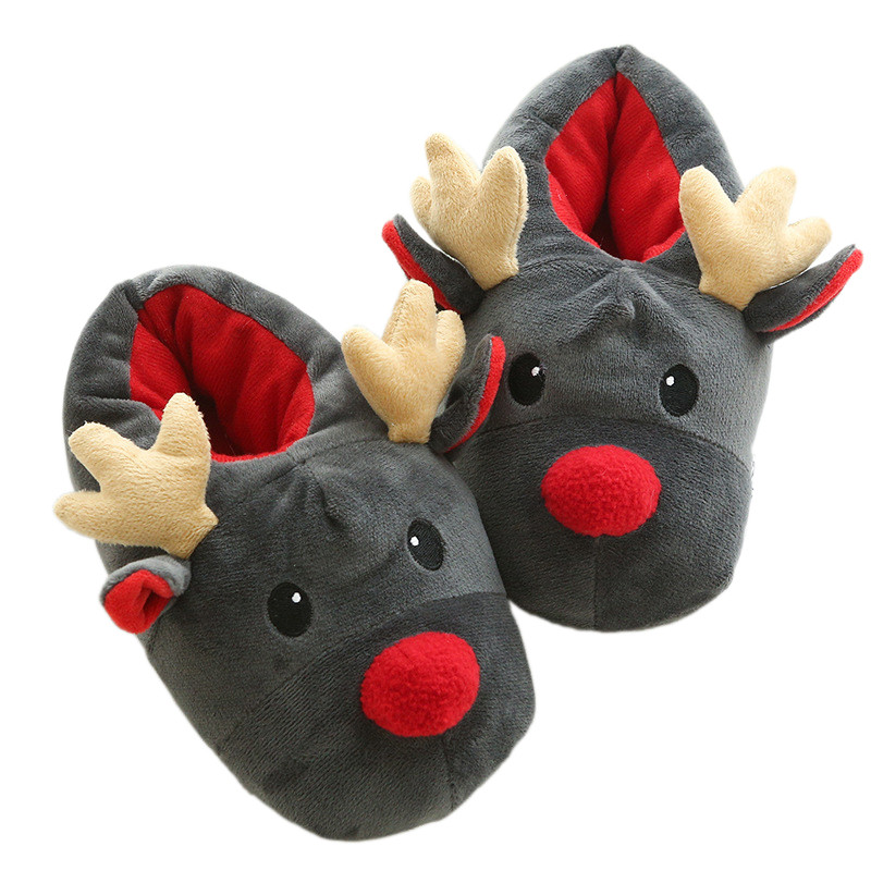 Kids Cotton Slippers Cute Christmas Deer Animal Thick Slippers Shoes Boys Girls Winter Family House Indoor Shoes