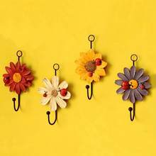 Creative Household Hooks Resin Flower Shape Hangers for Key Hat Towel Wall Hooks Home Decoration(China)