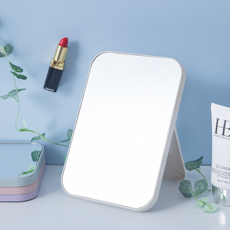 Makeup Mirror High-Definition Desktop Simplicity Cosmetic Mirror Large Size Square Princess Mirror Folding Portable Daily Mirror