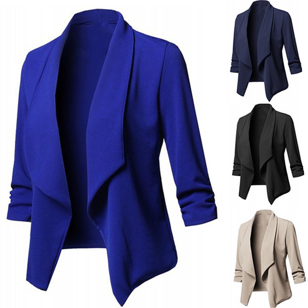 Business Office Women Blazer Solid Color Long Sleeve  Blazer Lapel Open Front Short Suit Jacket For Women's Coat