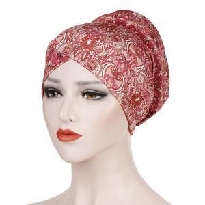 Image 3 - Gorro turbante estampado musulmán, sombrero islámico, étnico, para envolver la cabeza, hijab, gorros islámicos, turbante para interiores, 2019