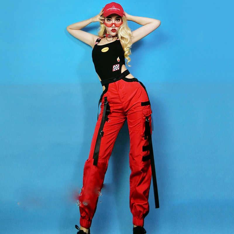Jazz Hip Hop Street Dance Kostuums Zanger Danser Prestaties Kleding Collectieve Rood Overalls Broek Sexy Zwarte Bodysuit DNV11998