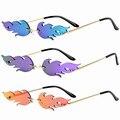 Очки солнечные очки волны огонь солнцезащитные очки уличная вождение автомобиля очки трендовые узкие, защищает от ультрафиолета, 400 защита ...