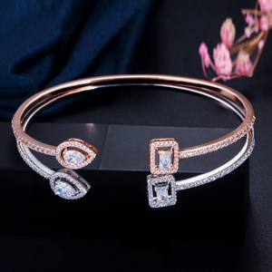 Image 2 - ERLUER Cuff adjustable bracelets for women jewelry wholesale fashion Zircon charm Crystal Ladies Hand Bracelet Gift lover girl
