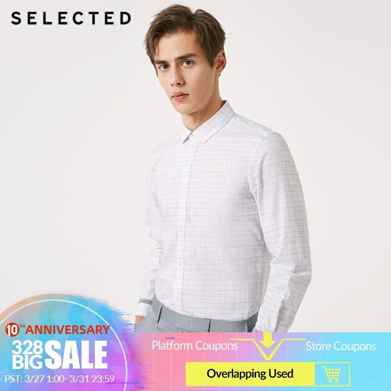 SELECTED Men's 100% Cotton Slim Fit Plaid Long-sleeved Shirt S|419105575