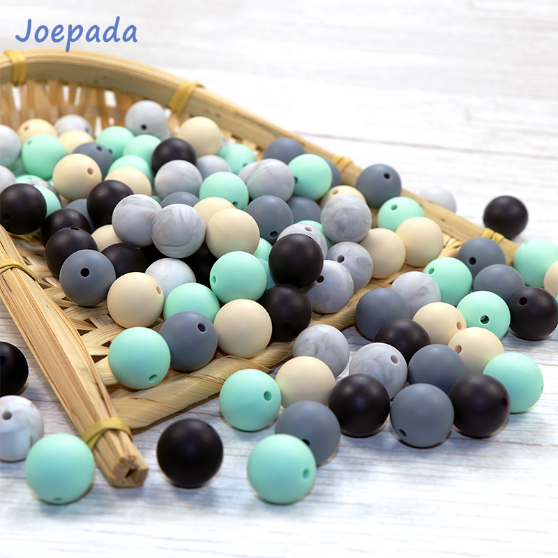 Joepada 50Pcs 12mm Round Silicone Beads BPA Free Baby Teethers Bead For Jewelry Making Products Food Grade Teething Necklace