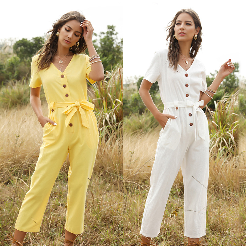 New Fashion Women's Jumpsuit   Rompers   Womens Jumpsuit Single Breasted Jumpsuit Female Button Playsu Women Spring Summer Playsuits