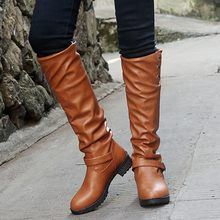 Comfortable Rubber High Boots Women Round Toe PU Over The Knee Boots Square Heels Botas Mujer Slip on Shoes Woman Boots Autumn(China)