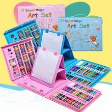 208 Pcs ציור ציור סט עפרון צבעוני עפרונות צבעי מים לילדים ילדי תלמיד אמן אמנות סט מברשות צבע