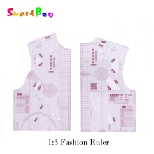 1:3 Fashion Ruler for Design in Notebook Small Fashion Cloth Pattern Design Ruler; Tailor Sewing Pattern Making Tools for a Doll
