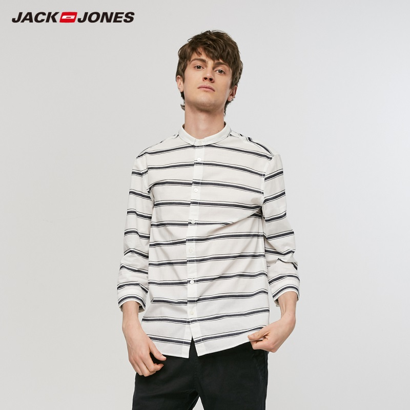 JackJones Men's Spring Casual 100% Cotton Striped 3/4 Sleeves Shirt Basic Menswear| 219131514