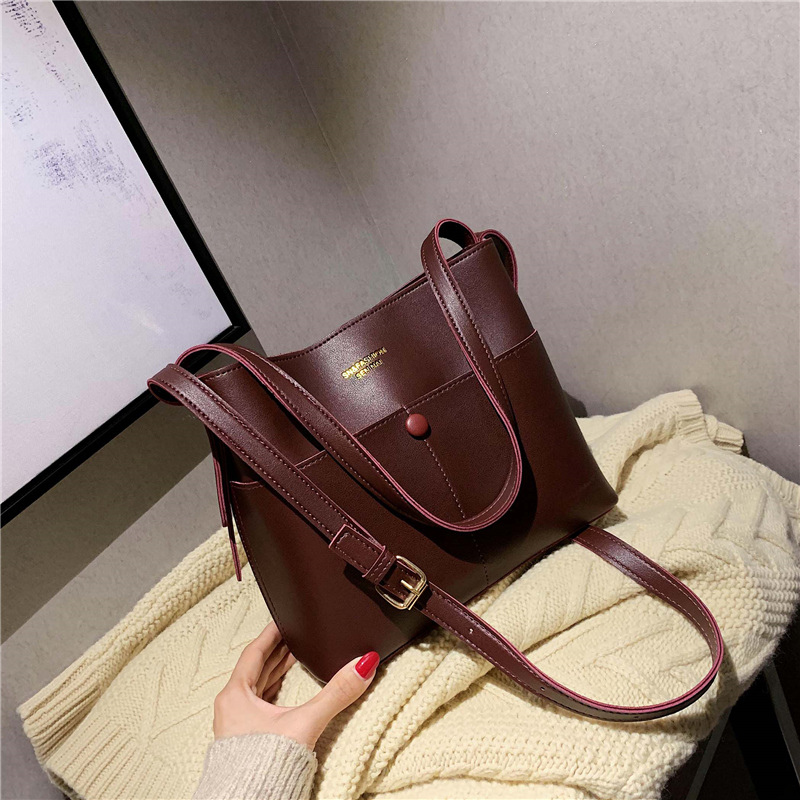 Olid Color Shoulder Bag For Women PU Leather Crossbody Bag Lady Luxury Handbag Female Large Capacity Bucket Bag
