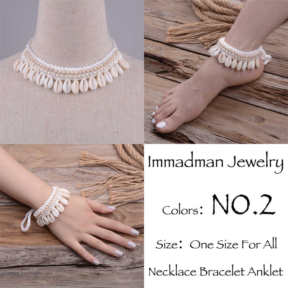 Ślub kość słoniowa szydełka boso sandały Foot biżuteria wiktoriańska koronka Bridal Shell Anklet naszyjnik bransoletka akcesoria plażowe