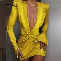 Sexy col en v profond Satin robe de soirée femmes automne ruché Club robe moulante élégant à manches longues dames robes Mini Vestidos Femme