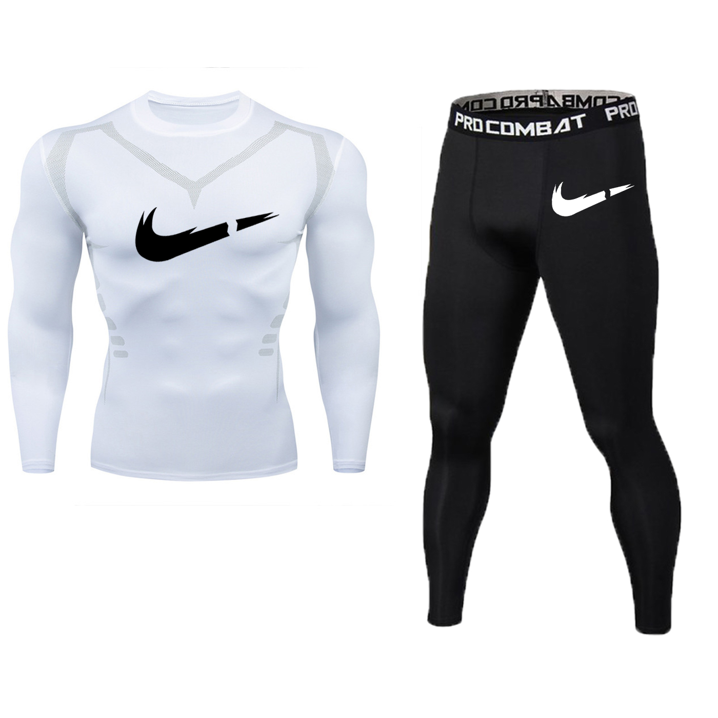 Image 2 - New Fitness Men's Set Pure Black Compression Top + Leggings Underwear Crossfit Long Sleeve + Short Sleeve T Shirt Apparel Set-in Men's Sets from Men's Clothing