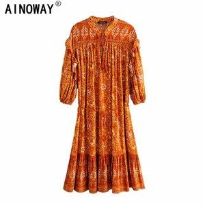 Image 1 - בציר שיק נשים כתום פרחוני הדפסת שרוול פנס ציצית חוף בוהמי מיני שמלות גבירותיי V צוואר זהורית Boho שמלה