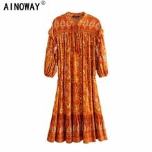 ヴィンテージシックな女性オレンジ花柄ランタンスリーブタッセルビーチボヘミアンミニドレスレディースvネックレーヨンのドレス