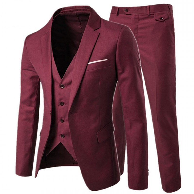 2020 New Fashion Mens Slim Fit Suits 3 Piece Suit Blazers Jacket Pants Vest Wedding Sets Business Casual Suit Set Plus Size 5XL