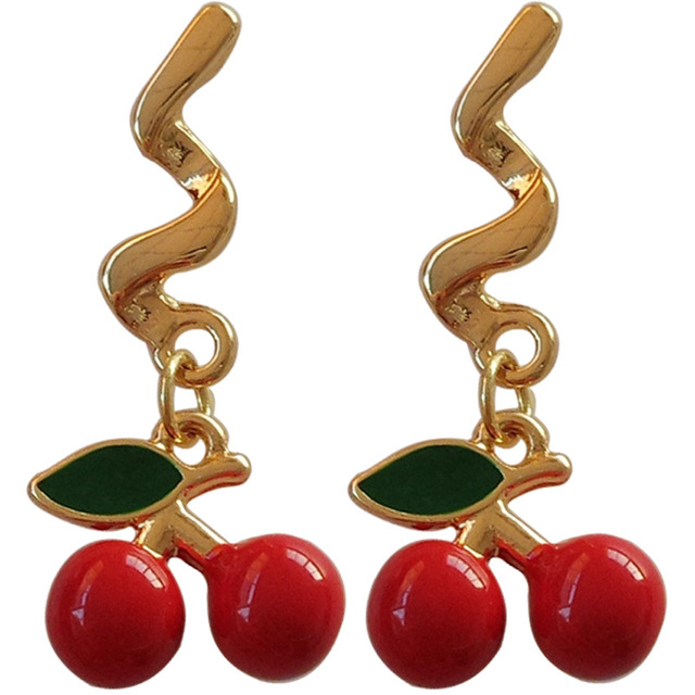 S925 needle Hot red Cherry Sets Earrings Eardrop Sweet Fruit Bowknot Earrings Female Fashion For Youth.jpg 640x640 - S925 needle Hot red Cherry Sets Earrings Eardrop Sweet Fruit  Bowknot Earrings Female Fashion For Youth Girl Gifts Party Wedding