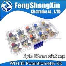 10 werte WH148 Potentiometer Kit B1K 2K 5K 10K 20K 50K 100K 250K 500K 1M 15mm Linear Taper Rotary Widerstand Set 3pin Mit Kappe