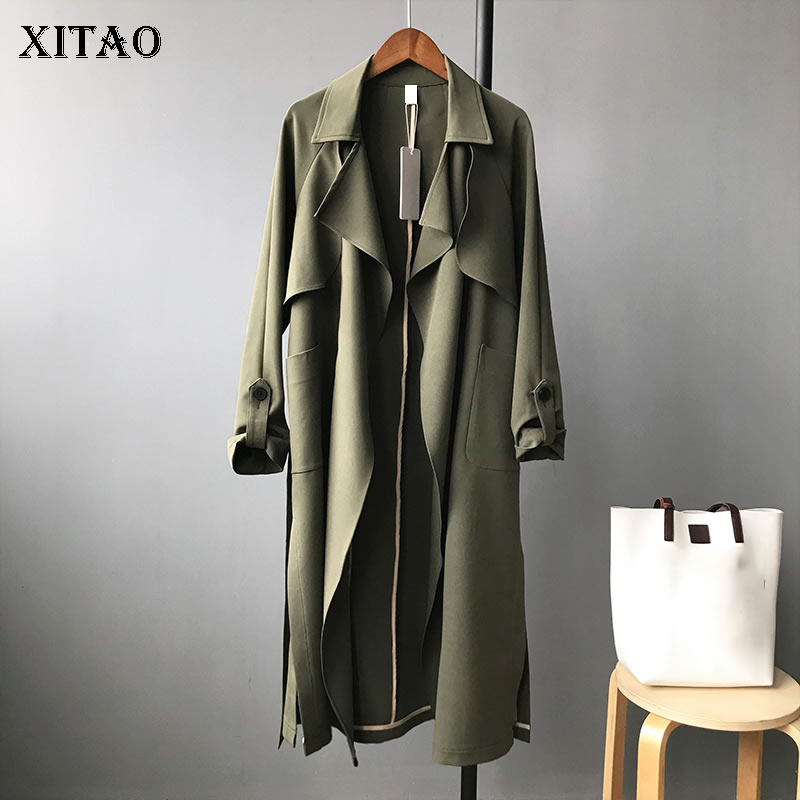 XITAO Plus Size Long Pocket Trench Women Clothes 2019 Fashion Patchwork Turn Down Collar Full Sleeve Cardigans Coat New GCC1941