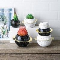 Нордическая креативная Круглая Керамическая железная художественная ваза блуждающая планета Настольный цветочный горшок для дома, гостин...