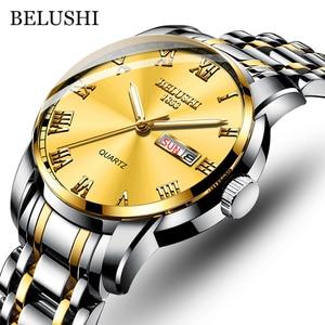 BELUSHI Fashion Ultra Thin Mens Watches Top Brand Luxury Quartz Watch Men Steel Mesh Waterproof Wrist Watch Relogio Masculino