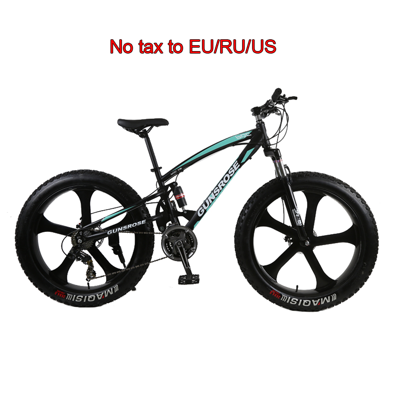 26inch Fat Tire Mountain Bike Five Knife Carbon Steel Frame 4.0 Big Tire MTB Adult Variable Speed Double Disc Brake Snow Bicycle